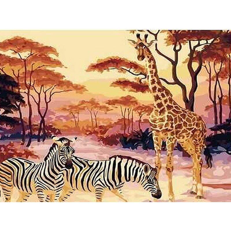 Paint by Number Kit Zebra with Giraffe 40 x 50cm