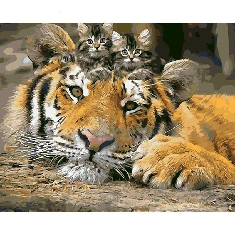 Paint by Number Kit Tiger with Kittens 40 x 50cm
