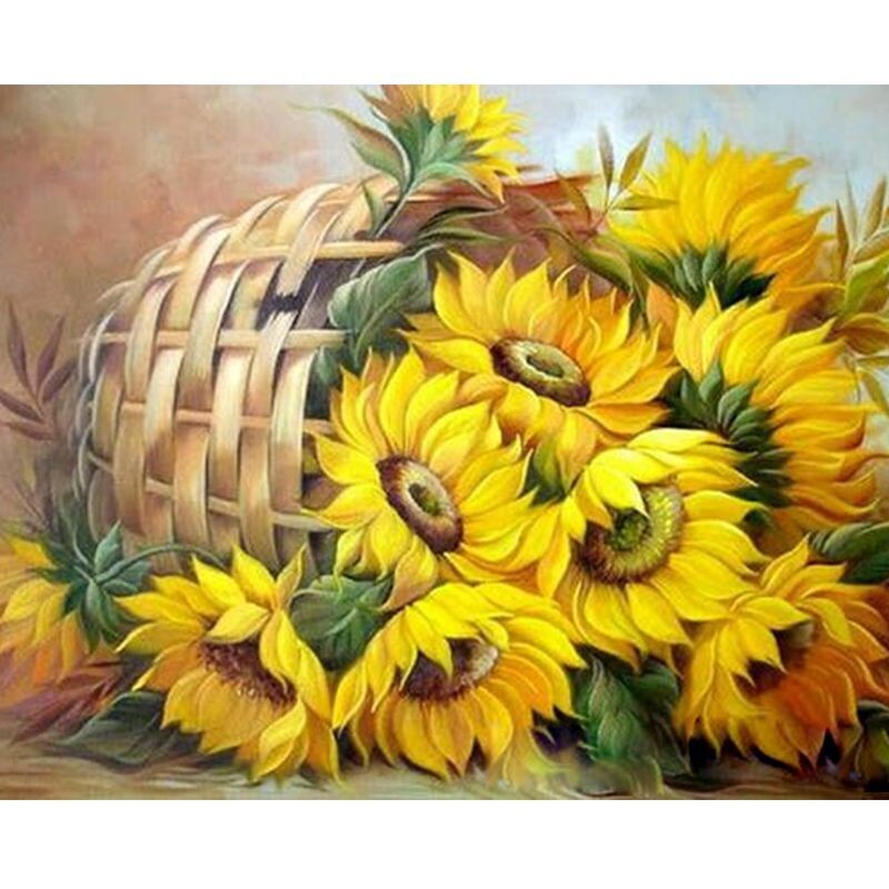 Paint by Number Kit Sunflower Basket 40 x 50cm