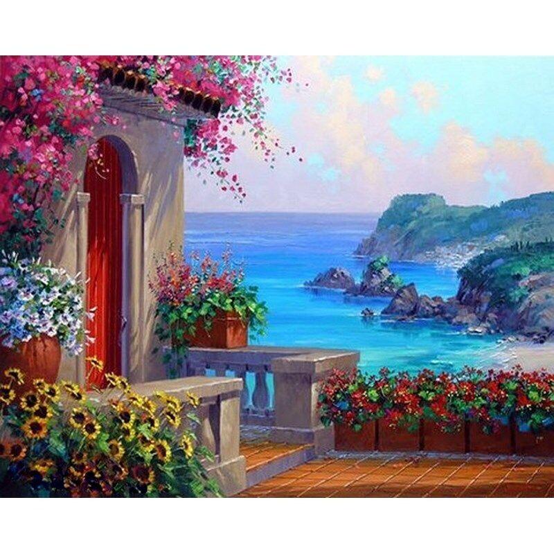 Paint by Number Kit Seaside Villa 40 x 50cm