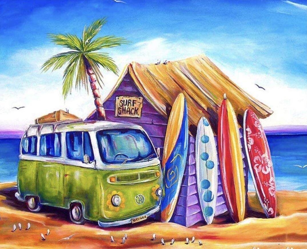 Paint by Number Kit Surf Shack 40 x 50cm