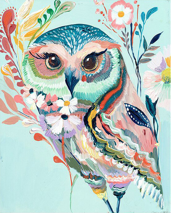 Paint by Number Kit Pretty Owl 40 x 50cm