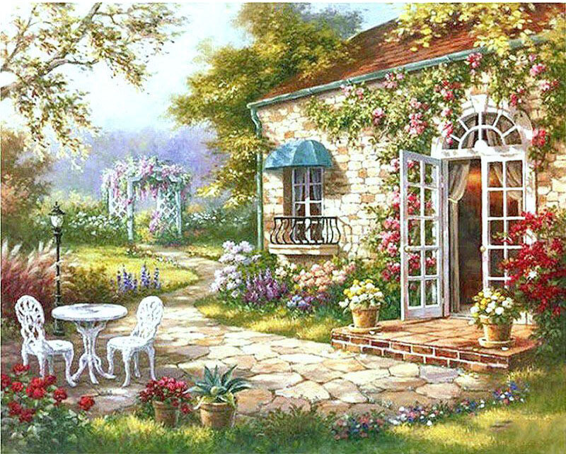 Paint by Number Kit English Cottage 40 x 50cm