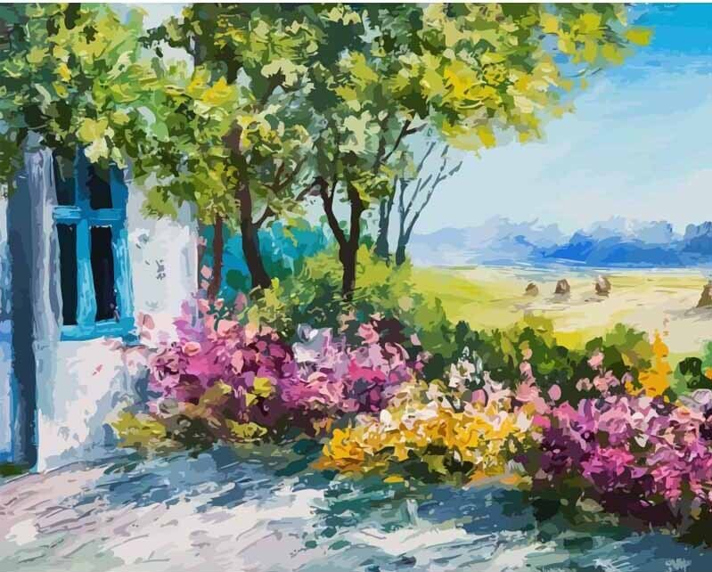 Paint by Number Kit Farm View 40 x 50cm