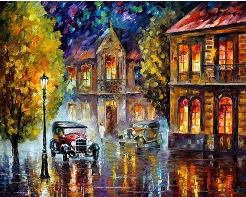 Paint by Number Kit Rainy Night 40 x 50cm