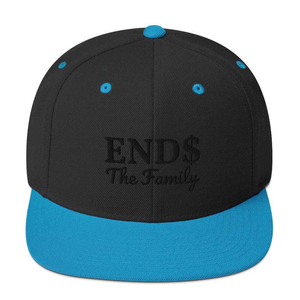 ENDS The Family Snapback Black Stitch Hat