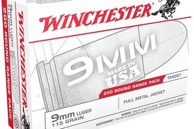 9mm Range Ammo - 115GN FMJ - 200Rds/Box