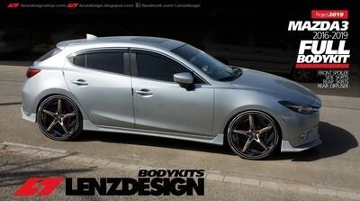 Mazda 3 BM/BN Hatchback Lenzdesign 5PC Bodykit - Front Spoiler. Side Skirts. Rear Skirt. Rear Diffuser 2017-2018
