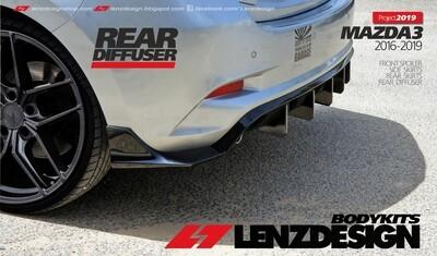 Mazda 3 BM/BN Hatchback Rear Diffuser-Rear Skirts Lenzdesign 2017-2018
