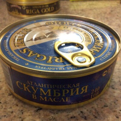 Riga Gold, Mackerel In Oil 240 AmberRye, Can W Opener