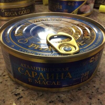 Riga Gold, Atlantic Sardines In Oil 240 gr AmberRye W Opener