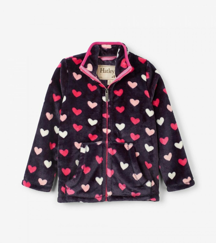 Hatley Lovely Hearts Fuzzy Fleece Zip Up