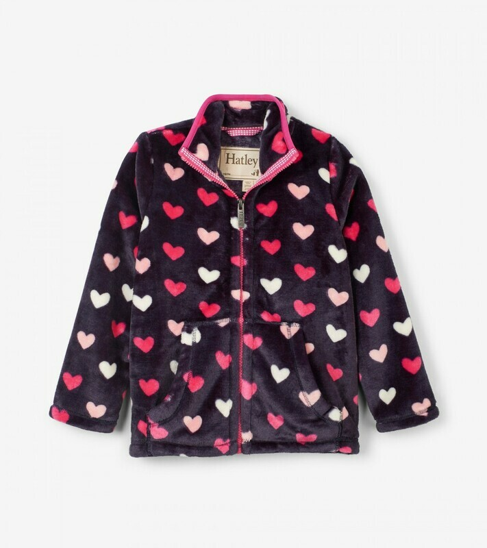 Hatley Lovely Hearts Fuzzy Fleece Zip Up