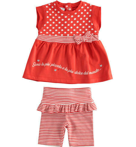 Two Piece Girls Set with polka dots