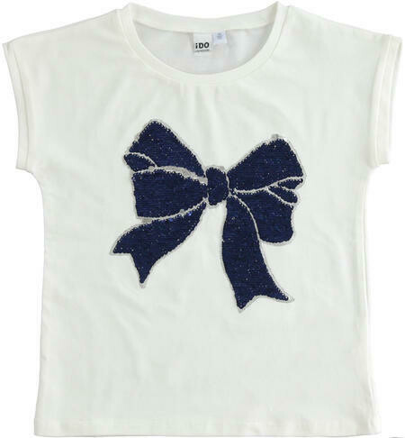Stretch Cotton Tee with reversible sequin Bow on front