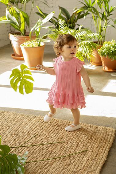 Babybol Pink Pleated Girls Dress