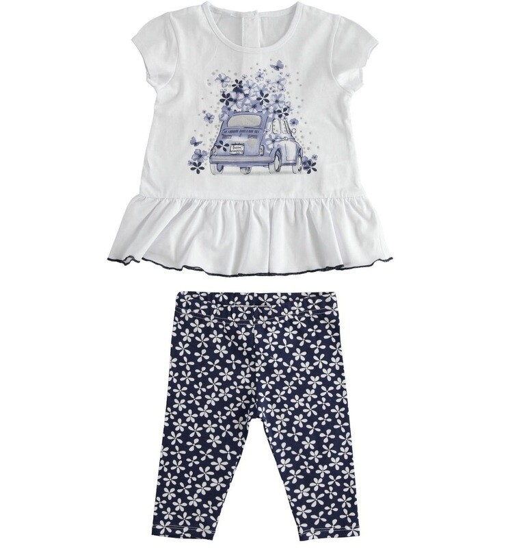 IDO Girls 2 Piece Legging Set , Navy & White