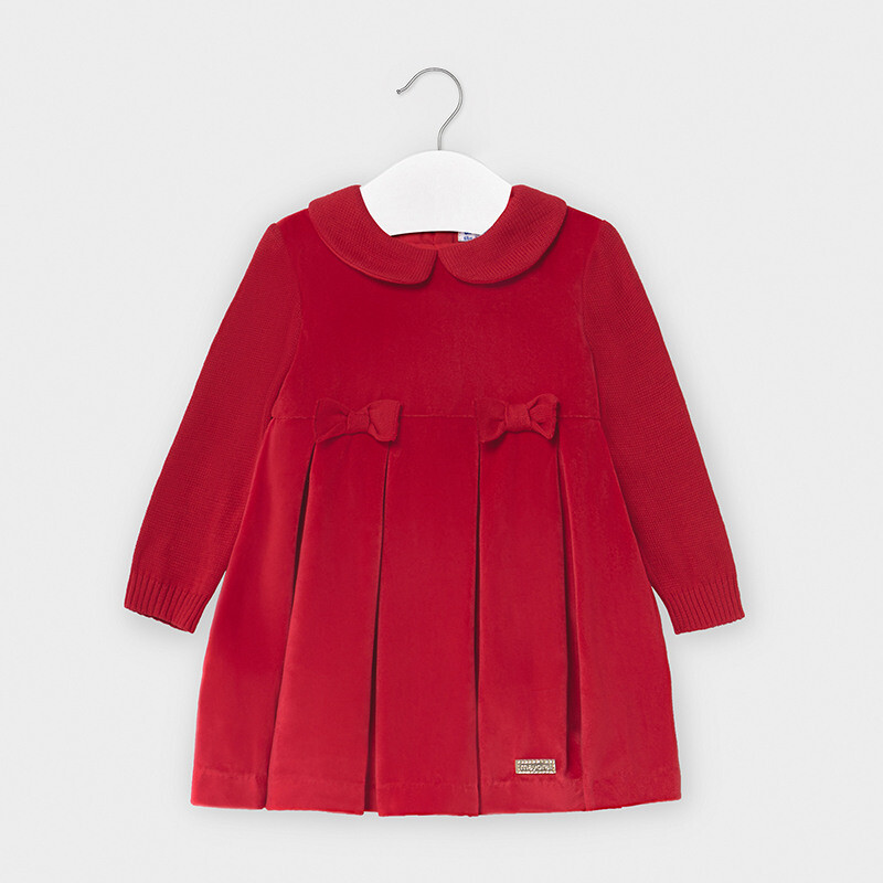Mayoral Red Long Sleeved dress for baby girl