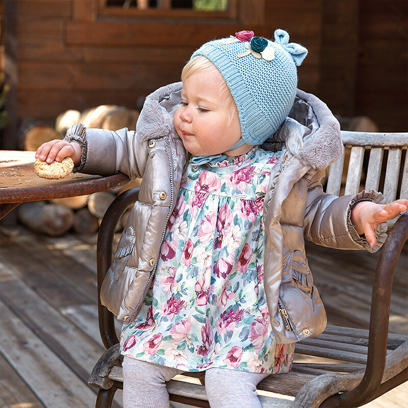 Mayoral Patterned micro-corduroy dress for baby girl