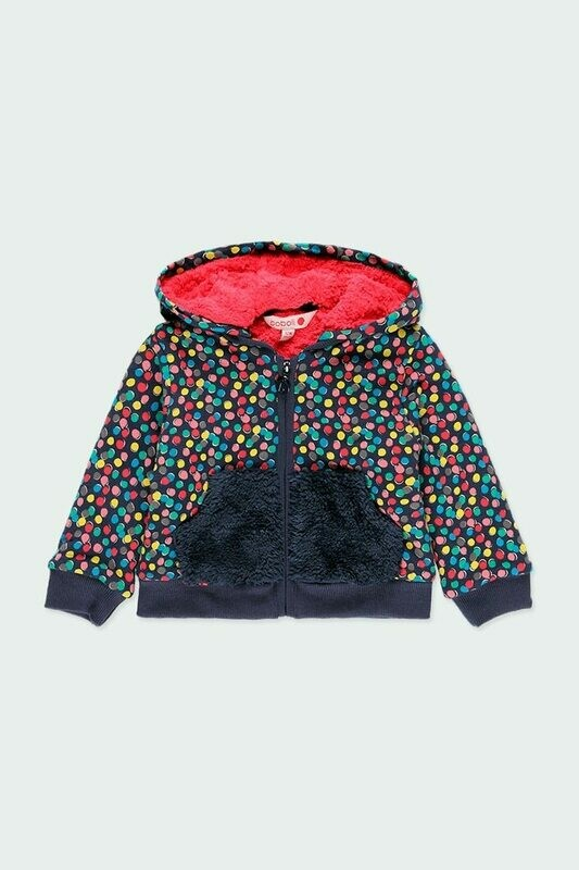 Boboli Fleece jacket polka dot for baby girl