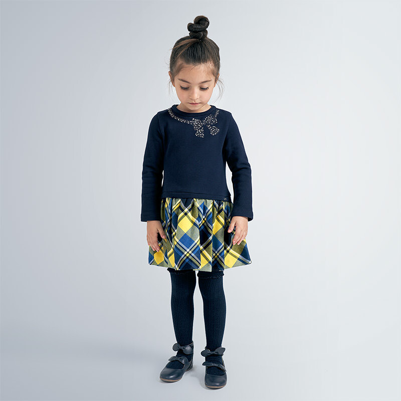 Mayoral Combined checked dress for girl