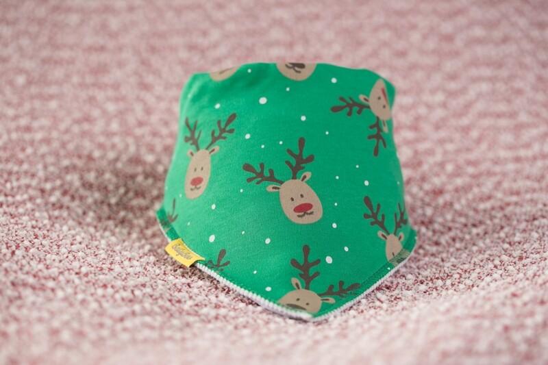 Babyboo Reindeer Green Christmas  Bib