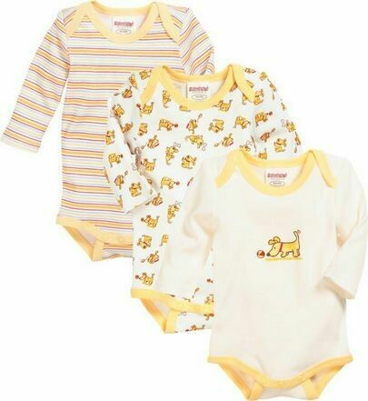 Baby long sleeved coloured vest 3 pack