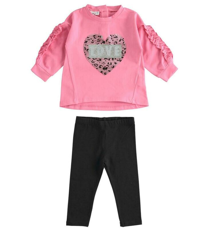 iDO Pink Stretch cotton  T-shirt and leggings Set  for girl
