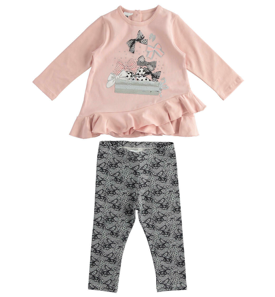 iDO Girls Set with T-shirt with double asymmetrical flounce at the bottom and leggings for girl