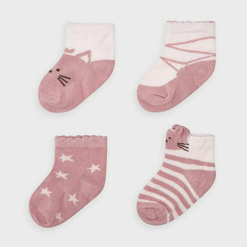 Mayoral Set of 4 pairs of Blossom colour socks for newborn girl