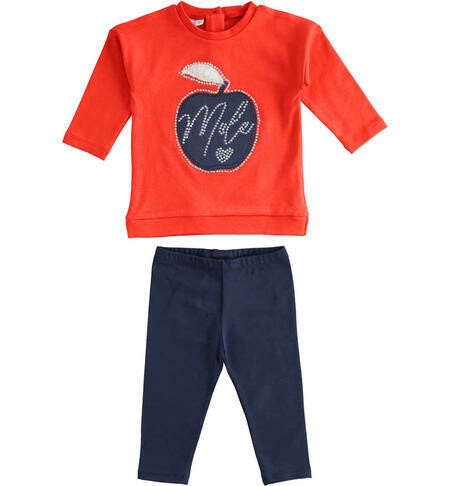 iDO Girls Leggings Set with interlock sweatshirt in 100% cotton with apple graphics