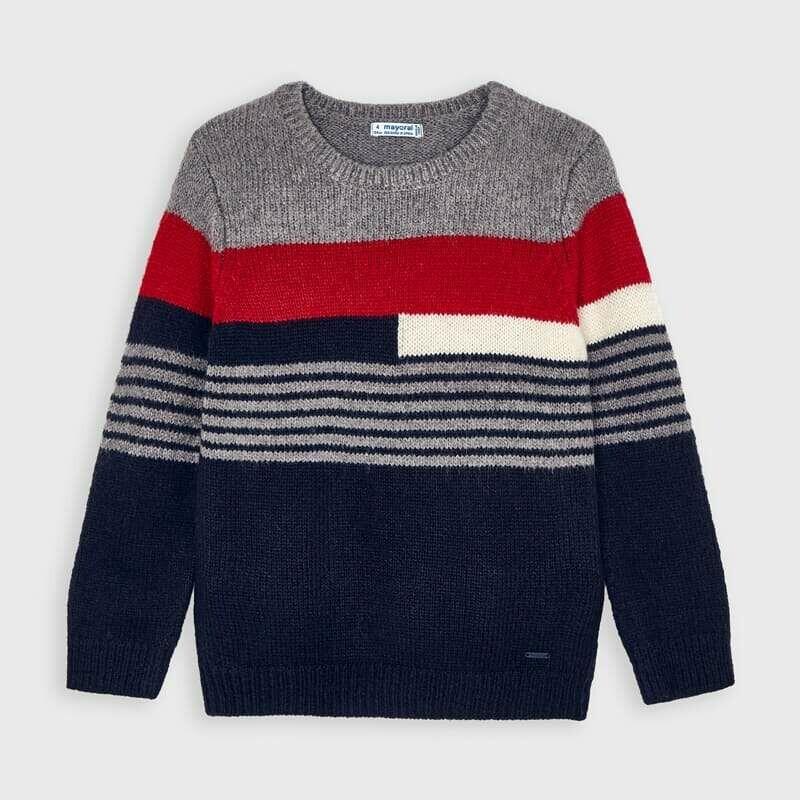 Mayoral stripe jumper Cherry & grey  for boy