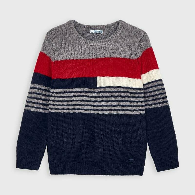 Mayoral Boys stripe Knit jumper Cherry & grey