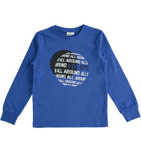 IDO Teen Boys Long Sleeved 100% Cotton Blue Top