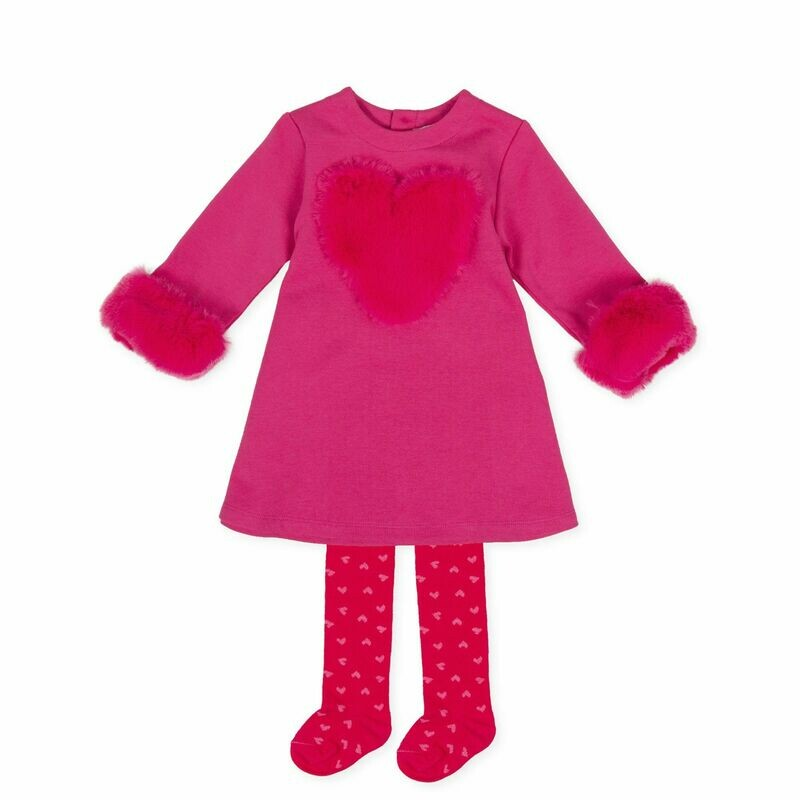 Agatha Ruiz De la Prada Pink Dress Set with fur trim set