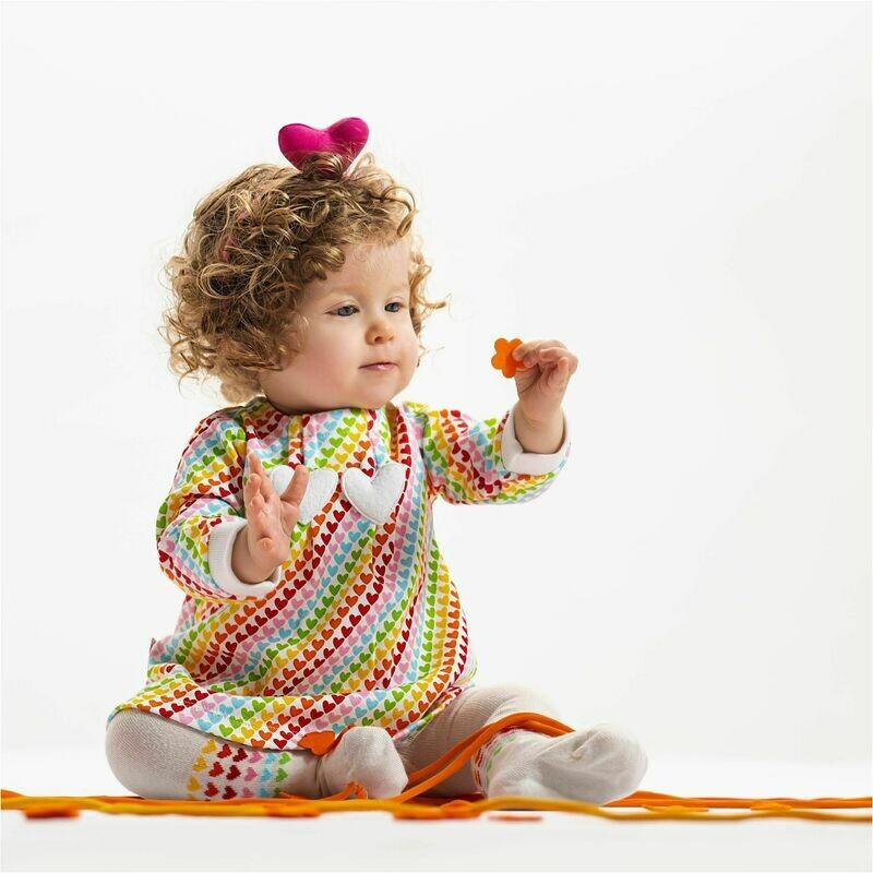 Agatha Ruiz De la Prada Baby Girls two piece Stripe Coloured 100% Cotton Dress & Tights