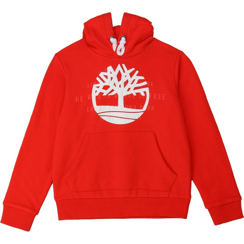 Timberland Boys Red Hood Sweat with Brand Logo