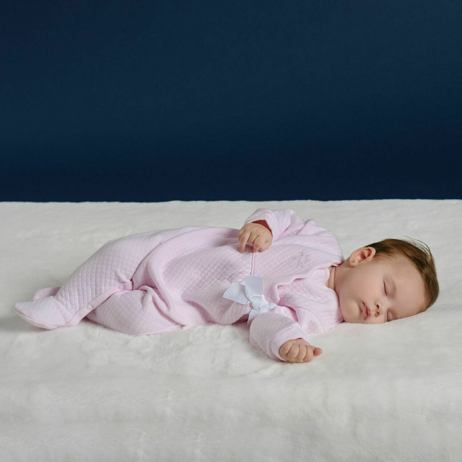 Tutto Piccolo Baby Girls Pink Textured Babygro
