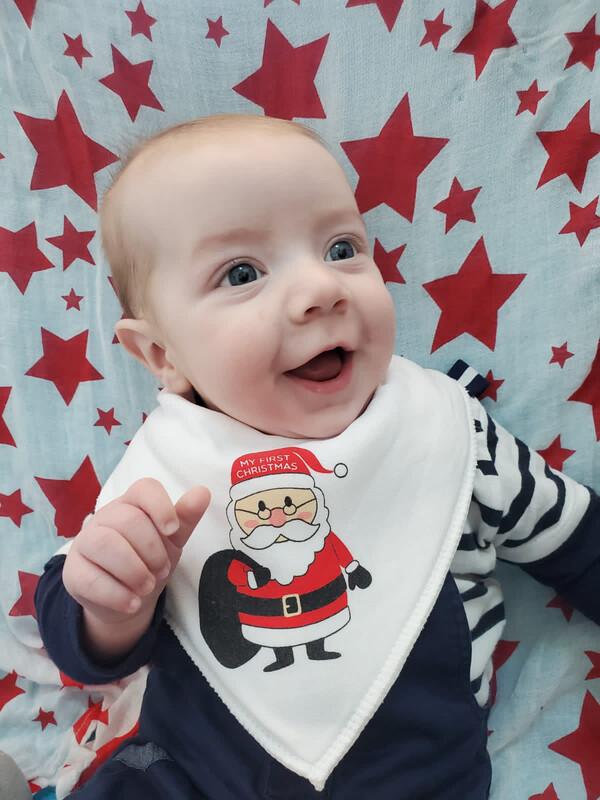 Babyboo My first Christmas organic Cotton white Bib
