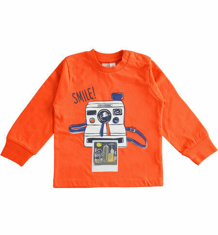 iDO Boys 100% cotton Orange  long-sleeved crew neck T-shirt