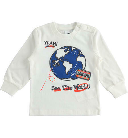 iDO Boys Cream Crew neck T-shirt 100% cotton with long sleeves and World graphics