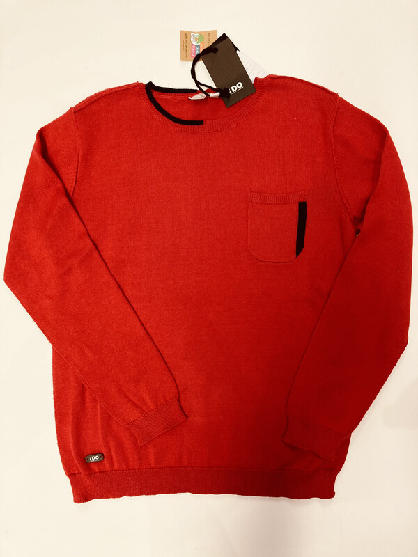 Ido Boys Red Knit 100% Cotton Jumper
