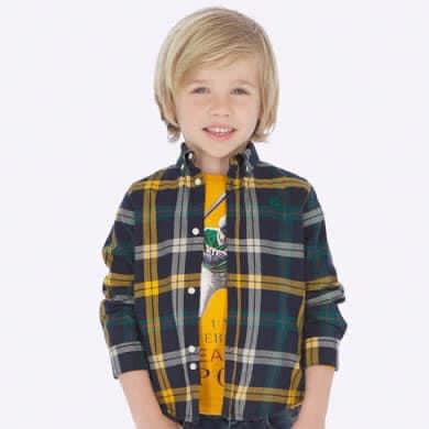 Mayoral Boys Check Shirt Yellow