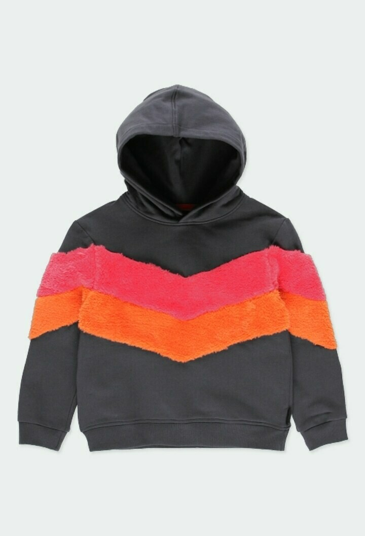 Boboli Girls Fleece sweatshirt Hoodie with stripes