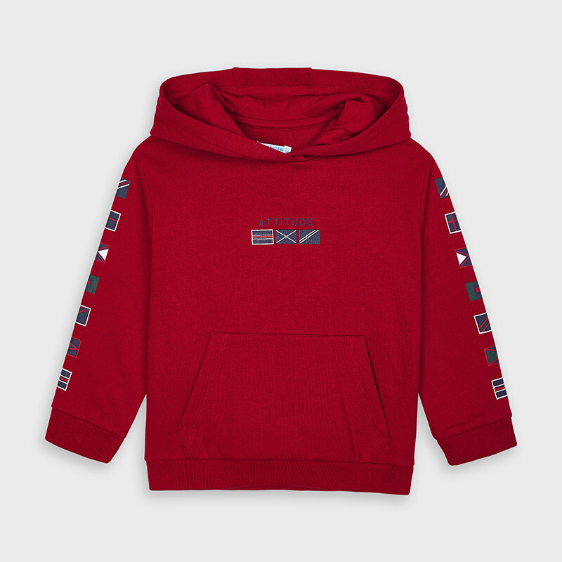 Mayoral Boys Flags hooded sweatshirt Red