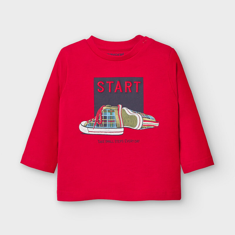 Mayoral Baby Boy Long sleeved start t-shirt Red