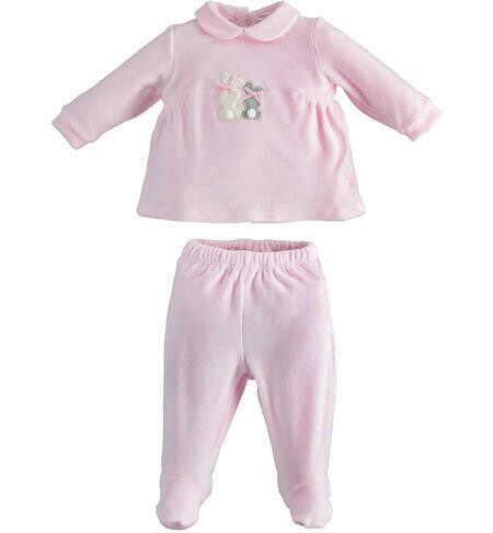 iDO two-piece romper with chenille foot for newborn girl