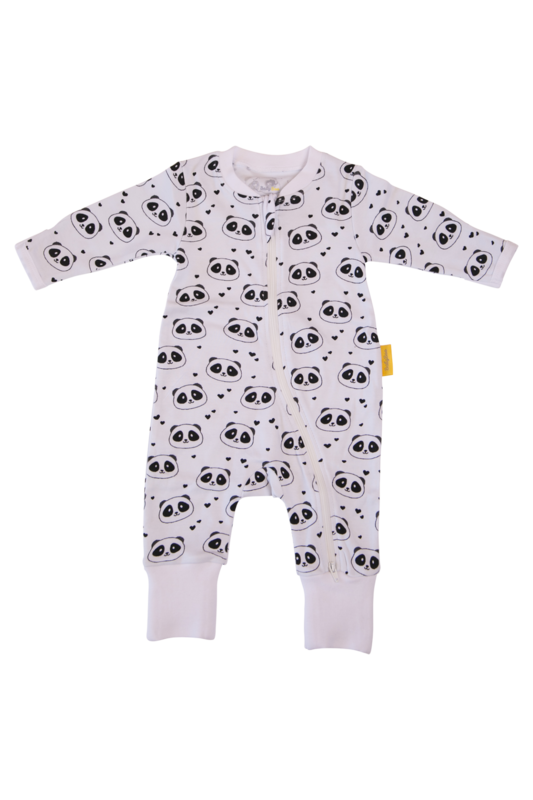 Babyboo PANDA LOVE ORGANIC COTTON ZIPPYBOO SUIT