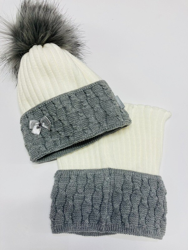 Hat & Snood Set Cream & Grey