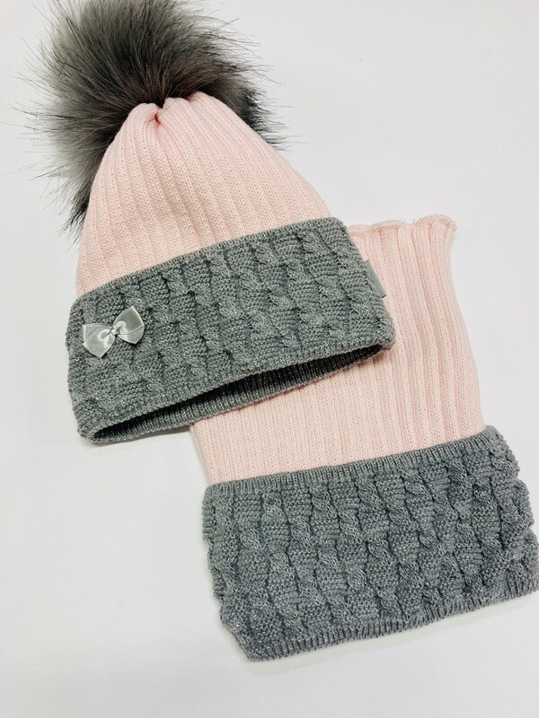 Hat & Snood Set Pink & Grey